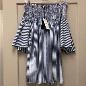 NWT SZ S French blue and white stripe Zara dress